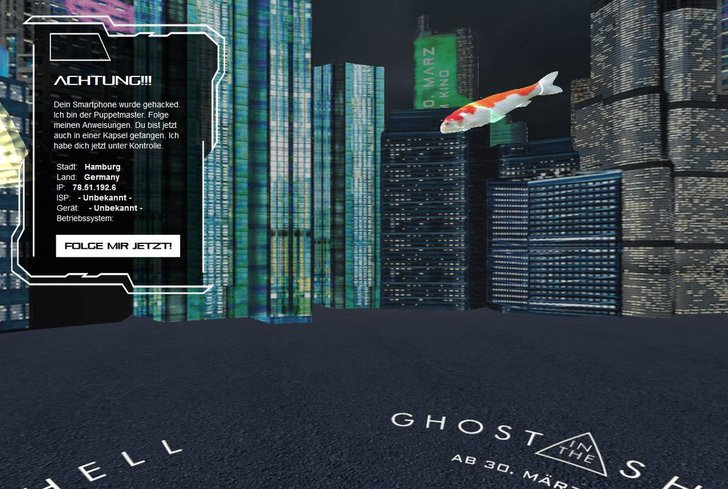 Bild: Screenshot Ghost in the Shell-Ad von bam!