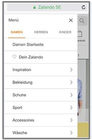 Screenshot: Zalando Mobilseite