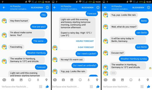 "Screenshot ""Hi Poncho"" im Facebook Messenger"
