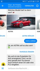 "Bild: Screenshot Opel Chatbot ""Chad"""