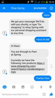 "Screenshot ""Shop Spring"" im Facebook Messenger"
