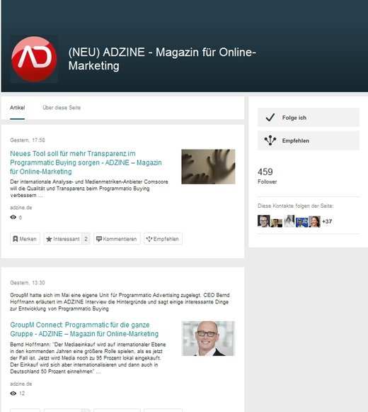 ScreenShot Adzine News auf Xing